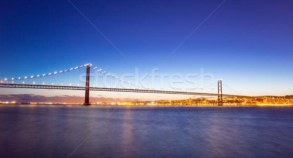 Панорама Лиссабон Cityscape моста На 25 Португалия Сток-фото © vichie81