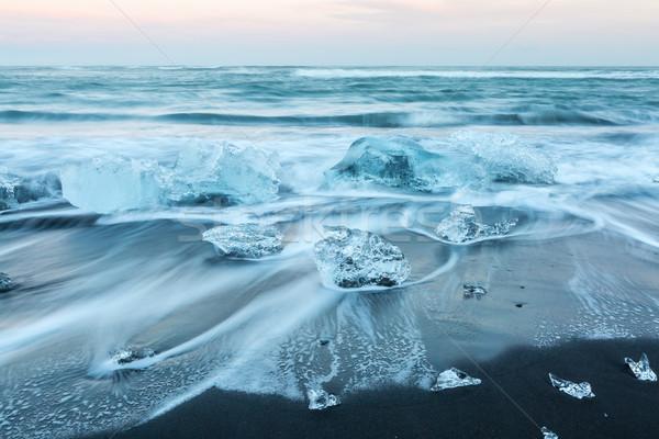 氷山 ビーチ アイスランド 日没 青 公園 ストックフォト © vichie81