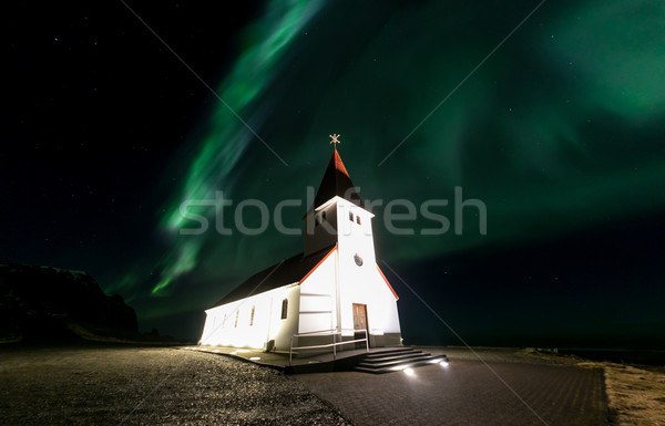 Vik Church Aurora Iceland Stock photo © vichie81