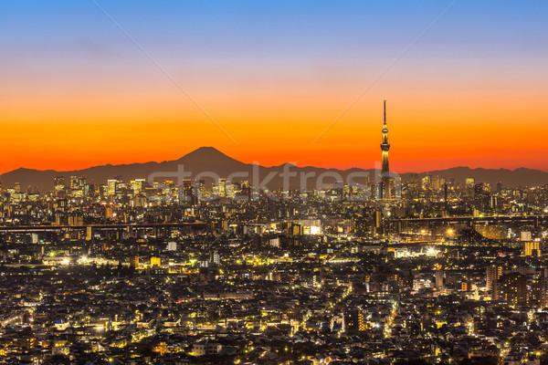 Tokió naplemente város légifelvétel hegy Fuji Stock fotó © vichie81