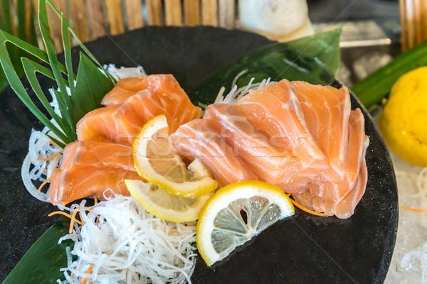 Salmone sashimi japanese cucina pesce Foto d'archivio © vichie81