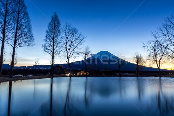 Fuji Dağı gündoğumu dağ Japonya su manzara Stok fotoğraf © vichie81