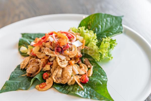Balık baharatlı salata kurutulmuş karides Stok fotoğraf © vichie81