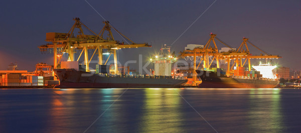 Stockfoto: Panorama · vracht · schip · container · werken · kraan