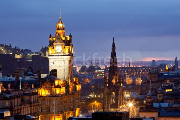 Edinburgh Skócia óra torony domb alkonyat Stock fotó © vichie81