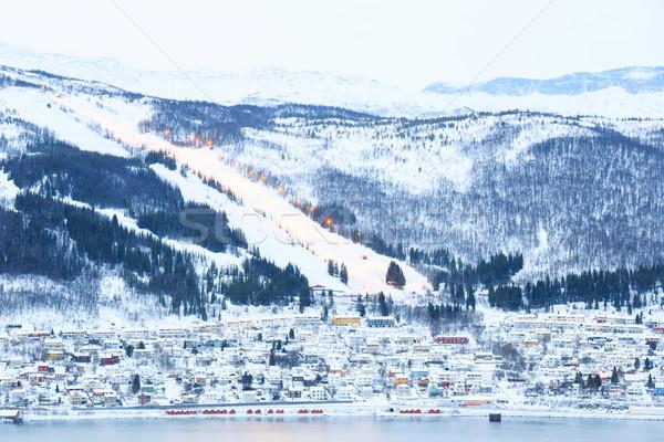 Cityscape лыжах холме горные здании пейзаж Сток-фото © vichie81