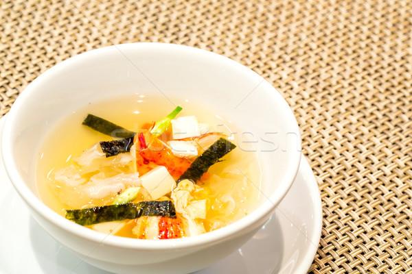 Aragosta zuppa tofu alimentare bianco Foto d'archivio © vichie81