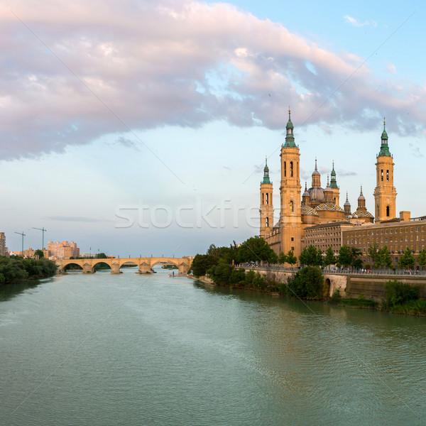 Bazilika Spanyolország panoráma hölgy oszlop folyó Stock fotó © vichie81