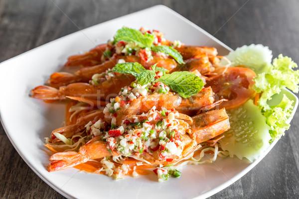 Tigris garnéla fűszeres saláta thai étel Stock fotó © vichie81