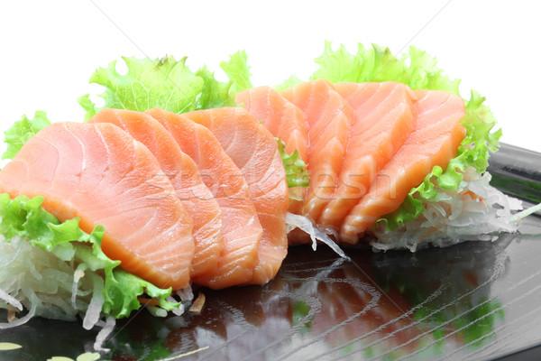 Meze somon sashimi siyah yemek yansıma Stok fotoğraf © vichie81
