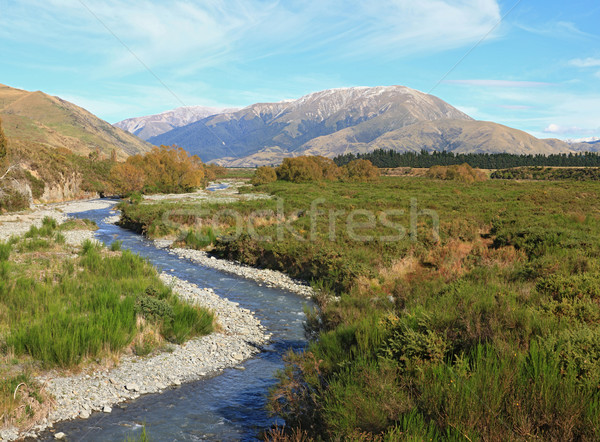 curve river to Southern alpine alps mountain at Arthur's Pass Na Stock photo © vichie81