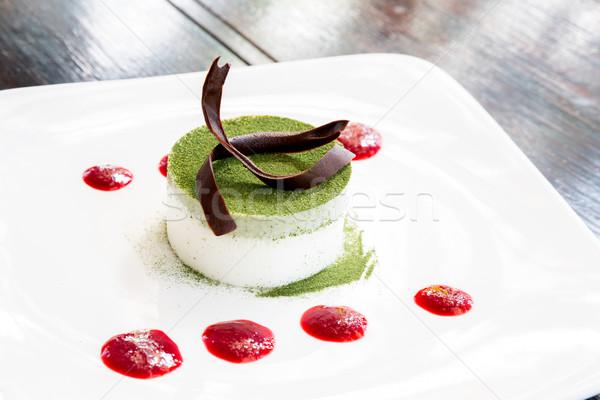 зеленый чай торт чизкейк продовольствие рождения шоколадом Сток-фото © vichie81