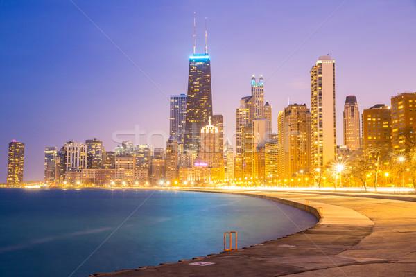 Stock fotó: Chicago · belváros · tó · Michigan · város · alkonyat