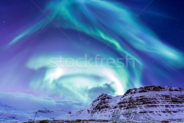 Nördlich Licht Island Landschaft Schnee Stock foto © vichie81