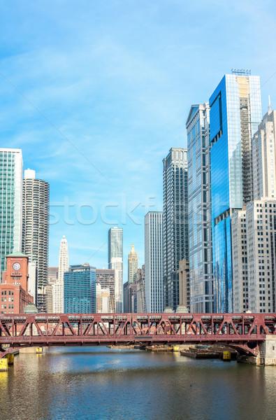 Foto stock: Chicago · centro · da · cidade · panorama · rio · pontes · céu