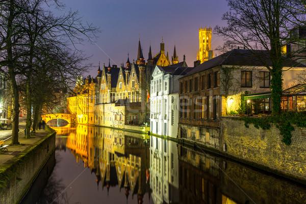 Bélgica anochecer histórico medieval edificios canal Foto stock © vichie81