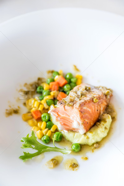 Stock photo: Salmon grilled