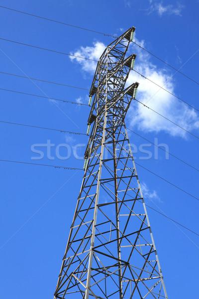 электрических высокое напряжение власти пост Солнечный небе Сток-фото © vichie81