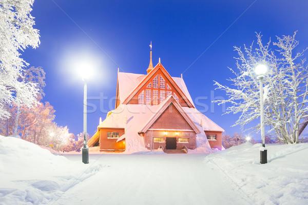 собора Швеция церковная архитектура сумерки сумерки звездой Сток-фото © vichie81