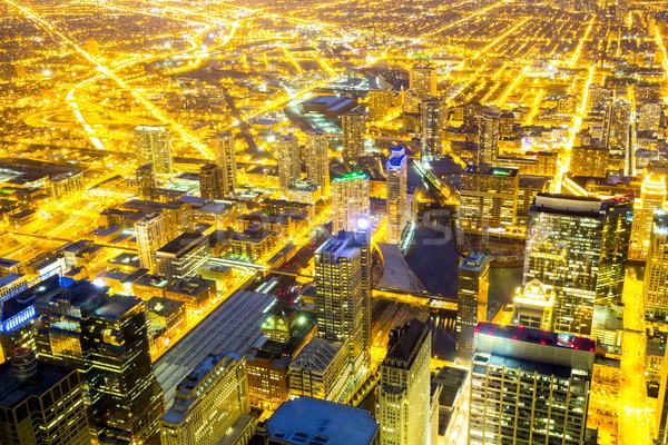Chicago cidade centro da cidade noite céu Foto stock © vichie81