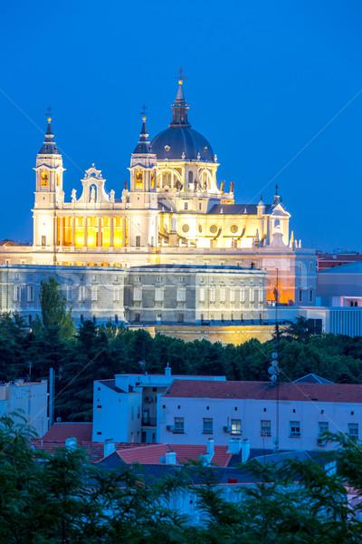 собора Мадрид Испания дворец сумерки закат Сток-фото © vichie81