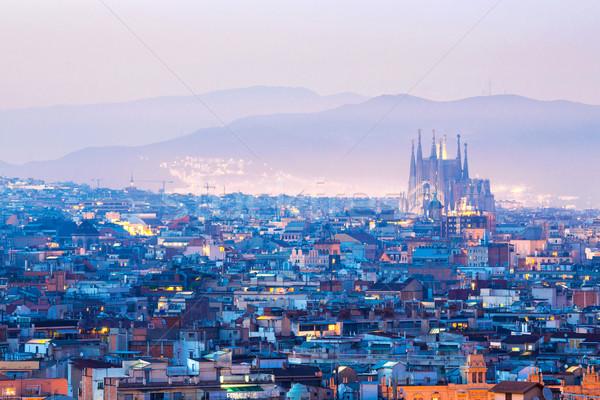 Barcelona Spanyolország városkép alkonyat égbolt ház Stock fotó © vichie81