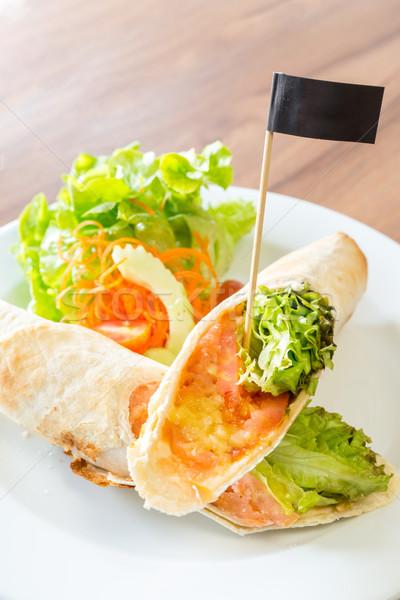 Stockfoto: Rook · zalm · oranje · groene · brood