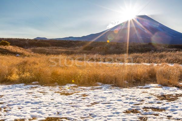 Górskich fuji diament Świt zimą krajobraz Zdjęcia stock © vichie81