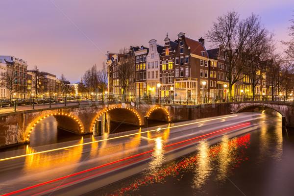 Amsterdam Nederland west kant schemering gebouw Stockfoto © vichie81