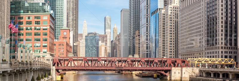 Chicago centrum panorama rivier bruggen hemel Stockfoto © vichie81