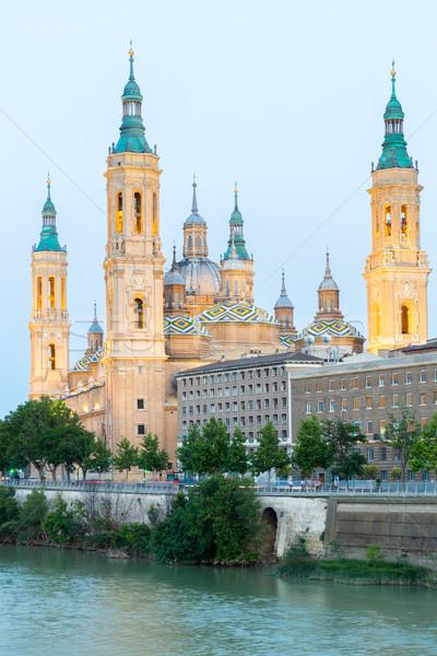 Bazylika Hiszpania pani rzeki zmierzch Zdjęcia stock © vichie81
