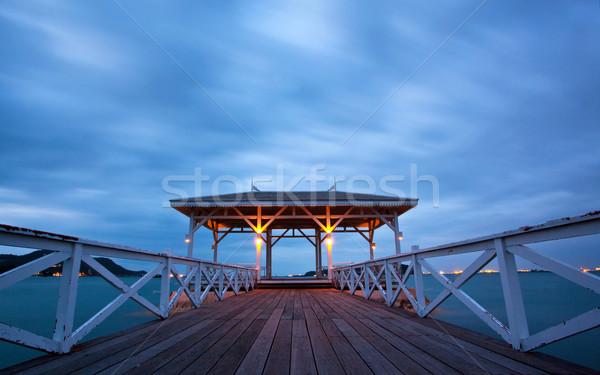 сумерки острове дороги древесины пейзаж фон Сток-фото © vichie81