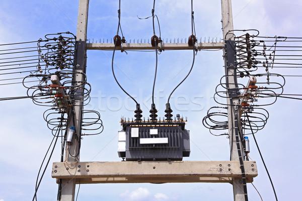 Elektrik transformatör mavi gökyüzü teknoloji ağ mavi Stok fotoğraf © vichie81