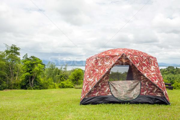 Táborhely sátor tavasz erdő űr utazás Stock fotó © vichie81
