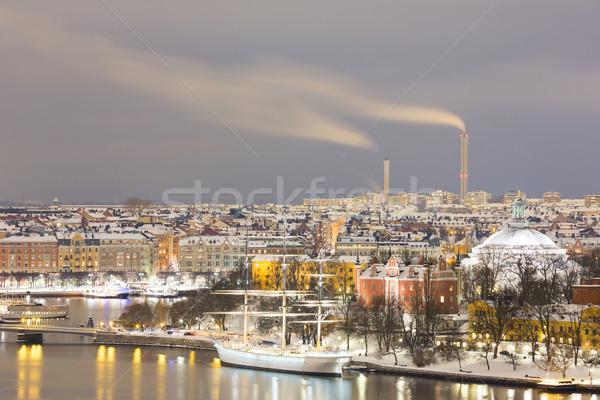 Stockholm Cityscape ufuk çizgisi gece İsveç gökyüzü Stok fotoğraf © vichie81