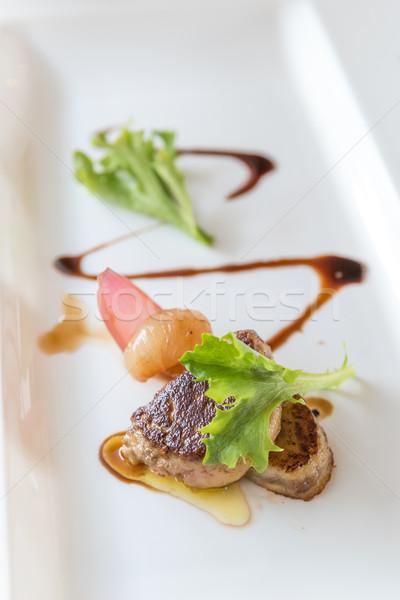 Grillés frit cuisine française vert plaque Photo stock © vichie81