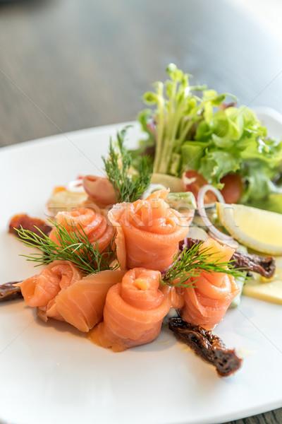 Salmone sashimi insalata insalata di patate alimentare mare Foto d'archivio © vichie81