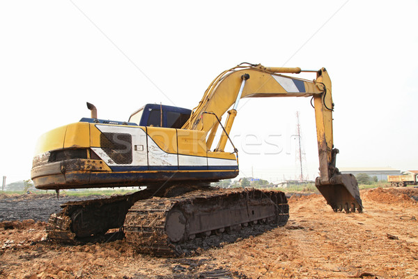 Excavator Loader with backhoe standing in sandpit Stock photo © vichie81