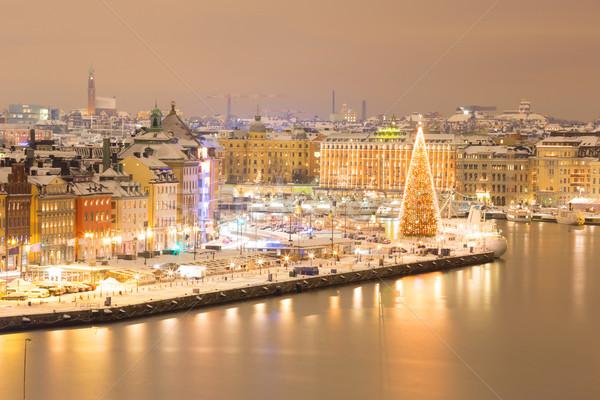 Stockholm Cityscape gece ufuk çizgisi Bina Stok fotoğraf © vichie81