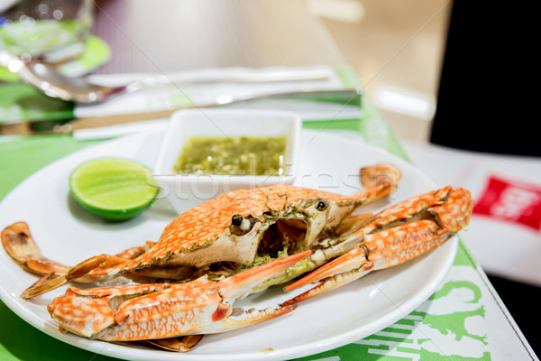 Gestoomd krab restaurant Blauw benen diner Stockfoto © vichie81