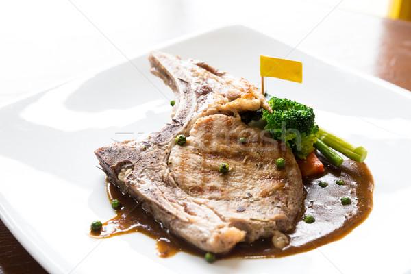 Disznóhús kotlett gurmé fő- főfogás grillezett Stock fotó © vichie81