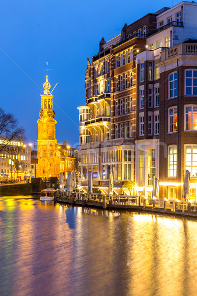 Amsterdam Nederland toren vierkante schemering water Stockfoto © vichie81