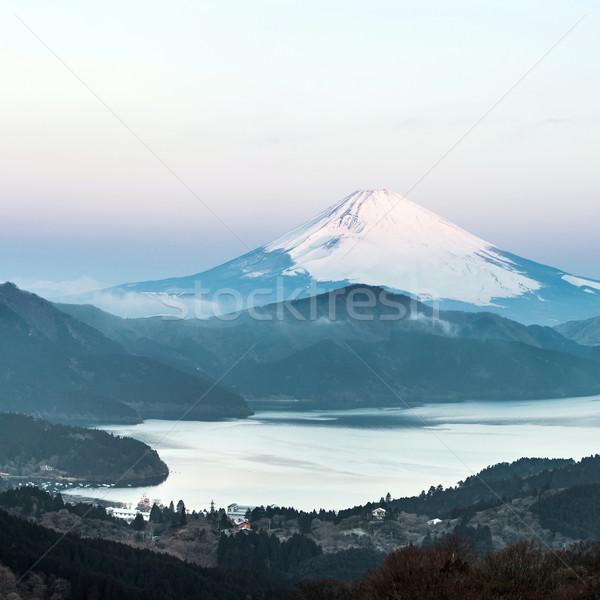 Fuji dağ göl gündoğumu panorama kış Stok fotoğraf © vichie81