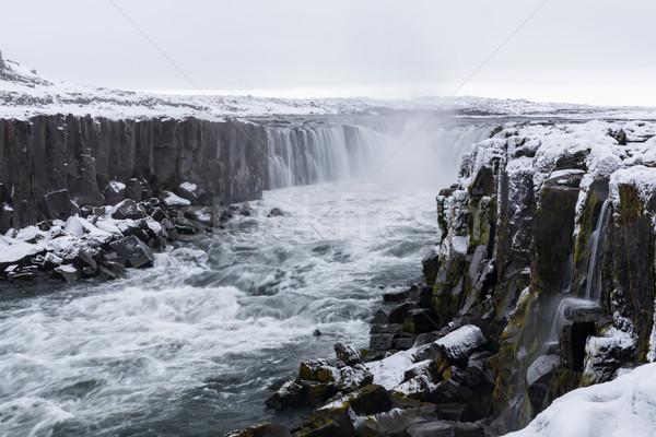 Islândia cachoeira inverno neve natureza viajar Foto stock © vichie81
