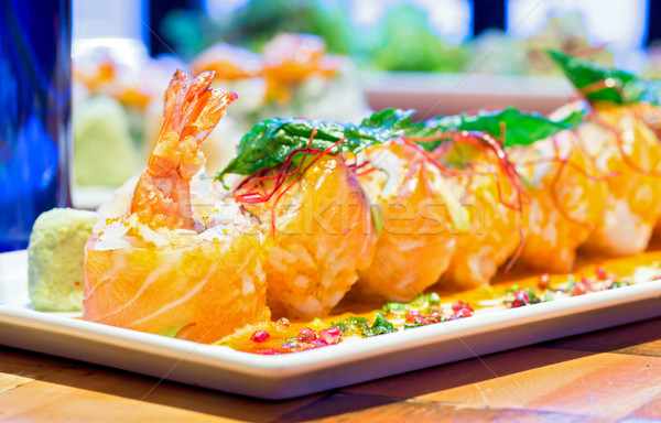 salmon Roll with Shrimp Stock photo © vichie81