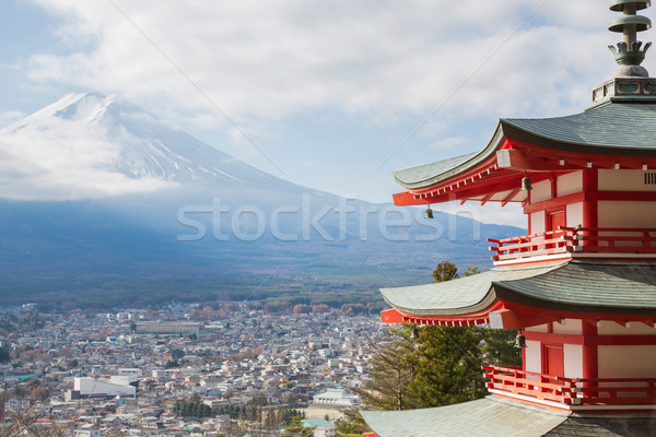 Pagode montagne fuji rouge paysage ville Photo stock © vichie81