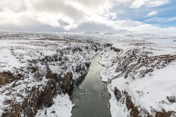 зима пейзаж Исландия реке утес Сток-фото © vichie81