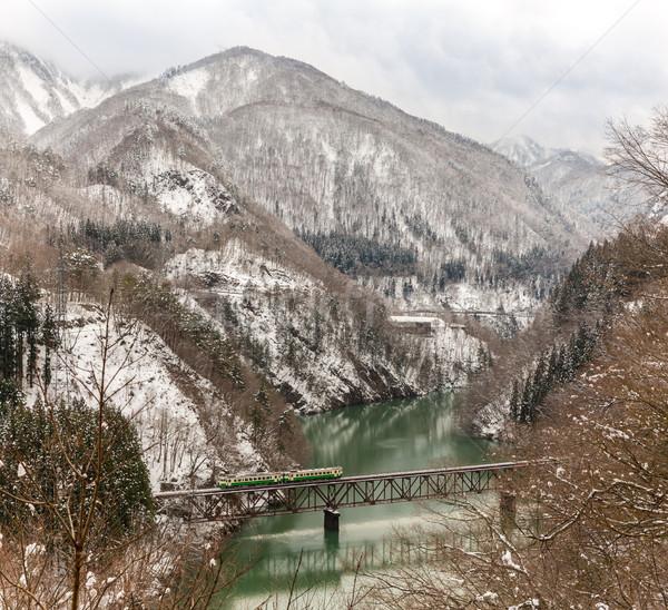 Сток-фото: поезд · зима · пейзаж · снега · моста · горные
