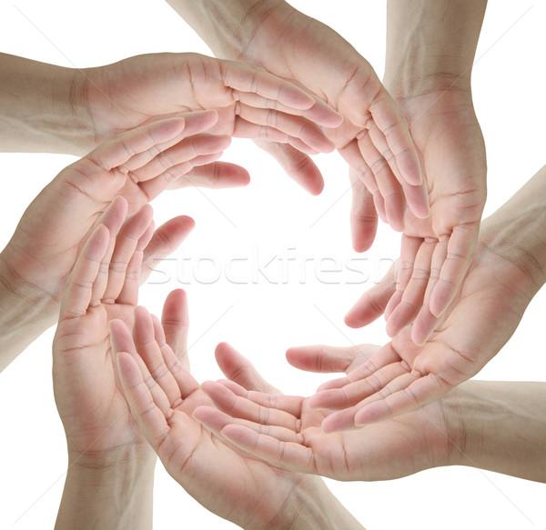 Teamwerk symbool menselijke handen cirkel Stockfoto © vichie81