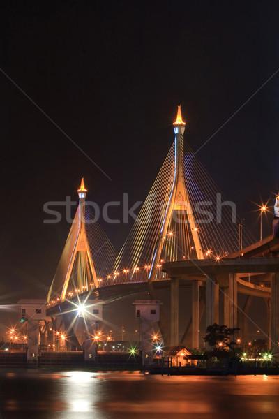 Бангкок как моста промышленных кольца сумерки Сток-фото © vichie81